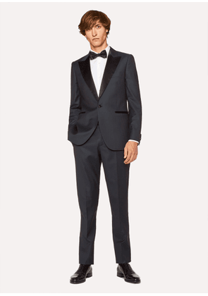 The Soho - Men's Tailored-Fit Navy Houndstooth Evening Suit