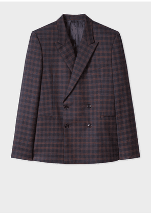 Men's Navy Check Wool Double-Breasted Blazer