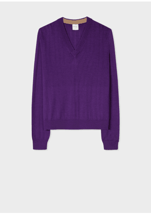 Women's Purple V-Neck Wool-Silk Sweater With Openwork Details