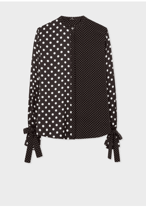 Women's Black And White Polka Dot Shirt With Tie Cuffs