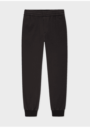 Men's Black Stretch-Cotton Drawstring Trousers