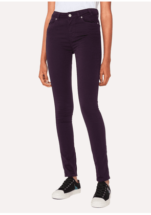 Women's Skinny-Fit Aubergine Denim Jeans