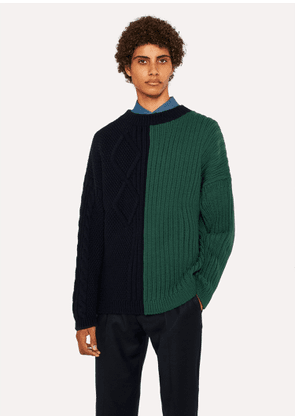 Men's Bi-Colour Cable-Knit Merino Wool Sweater