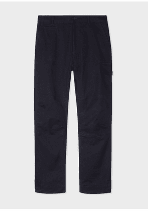 Men's Dark Navy Garment-Dyed Stretch-Cotton Cargo Trousers