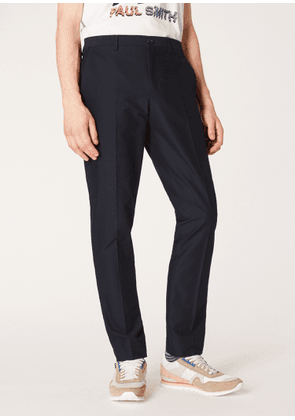 Men's Mid-Fit Dark Navy Pleat Front Chinos