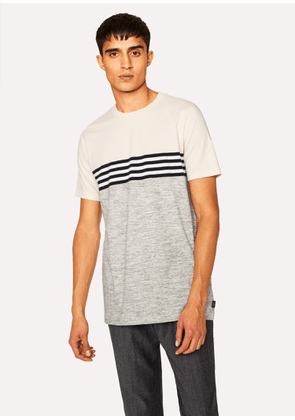 Men's Grey Marl And Cream Stripe T-Shirt