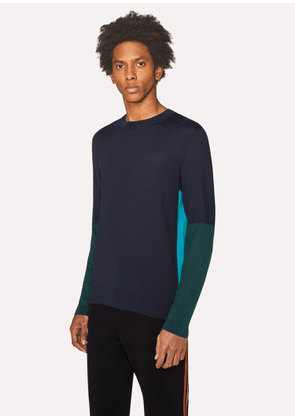 Men's Dark Navy Color-Block Crew-Neck Wool-Silk Sweater