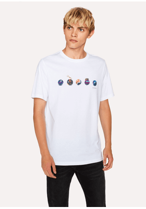 Men's White 'Marbles' Print Organic-Cotton T-Shirt