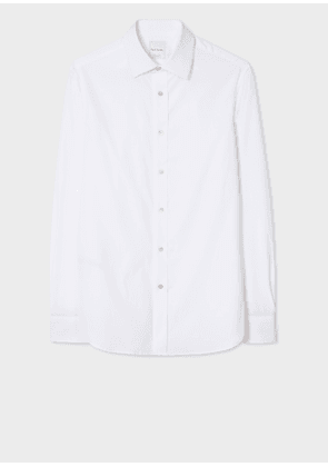 Men's Tailored-Fit White Cotton 'Artist Stripe' Cuff Shirt With Folded Placket