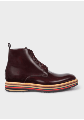 Men's Bordeaux Leather 'Corelli' Boots With Multi-Coloured Soles