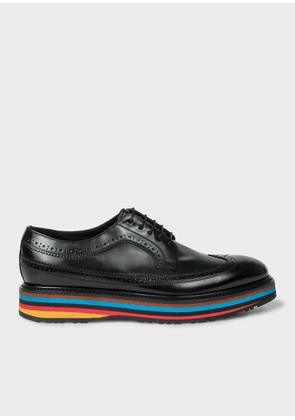 Men's Black Leather 'Grand' Brogues With Striped Soles