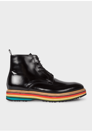 Men's Black High-Shine Leather 'Corelli' Boots With Multi-Coloured Soles