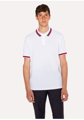 Men's White Polo Shirt With Multi-Coloured Tipping