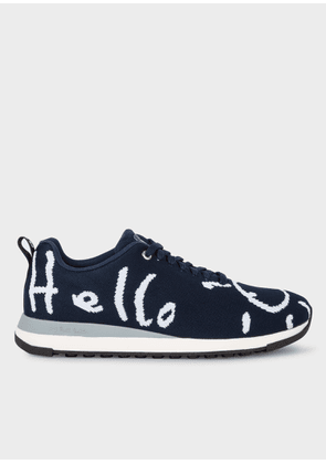 Men's Navy 'Doodle' Print 'Rappid' Knitted Trainers