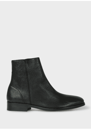 Women's Black Leather 'Brooklyn' Boots with 'Artist Stripe' Detail