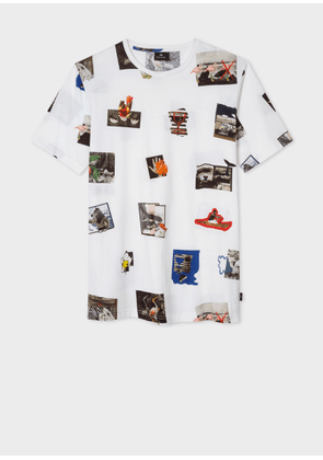 Men's White 'Harold's Photos' Print Cotton T-Shirt