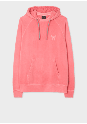 Men's Pink 'Two Headed Zebra' Print Cotton Hoodie