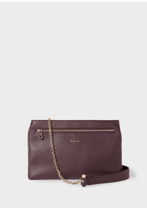 Women's Burgundy Leather Pouch With Gold Chain