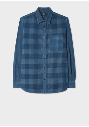 Men's Navy Check Corduroy Red Ear Shirt