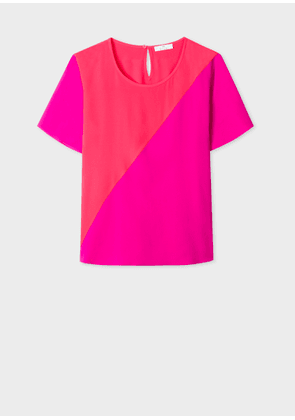Women's Fuchsia And Coral Silk-Blend Colour Block Top
