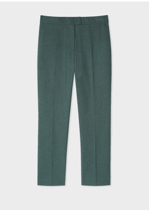 Women's Slim-Fit Forest Green Cotton-Blend Flannel Trousers