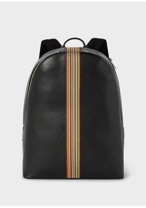 Men's Black Leather Signature Stripe Backpack