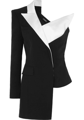Balmain - Asymmetric One-shoulder Satin-trimmed Crepe Blazer - Black
