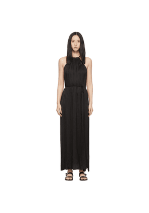 Raquel Allegra Black Satin Halter Dress