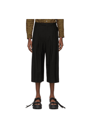 Lad Musician Black 3Tuck Cropped Wide Trousers