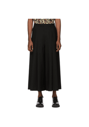 Lad Musician Black 2Tuck Cropped Wide Trousers