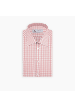 Pink Gingham Check Cotton Shirt with Classic T & A Collar and Double.