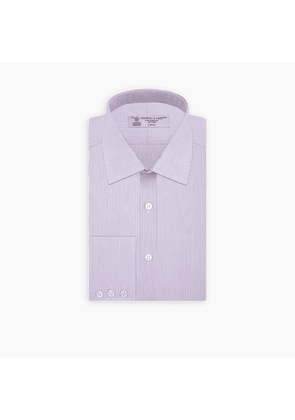 Lilac Hairline Stripe Shirt with T & A Collar and Button Cuffs