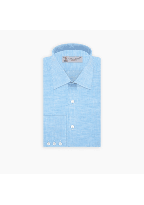 Turquoise Linen Shirt with T & A Collar and Button Cuffs