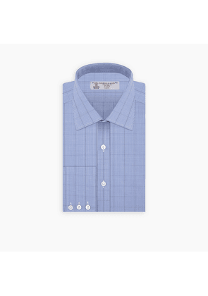 Blue and Navy Windowpane Check Shirt with T & A Collar and Button Cuffs