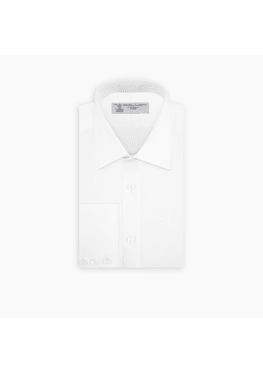 White Linen Shirt with T & A Collar and Button Cuffs