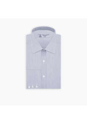 Blue Hairline Stripe Shirt with T & A Collar and Button Cuffs