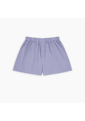 Lilac and Blue Check Sea Island Quality Cotton Boxer Shorts