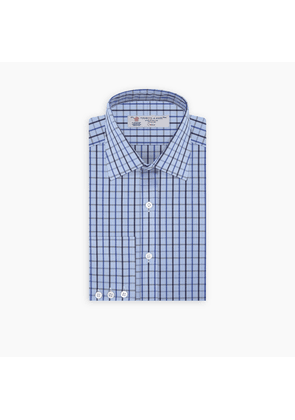 Navy and Blue Check Shirt with T & A Collar and Button Cuffs