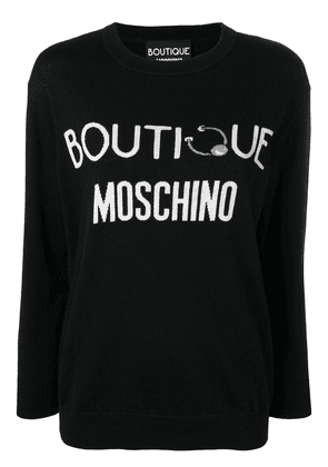 Boutique Moschino cashmere blend logo jumper - Black