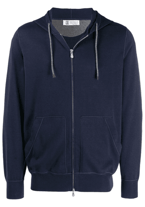 Brunello Cucinelli knitted drawstring hoodie - Blue