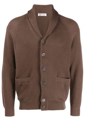 Brunello Cucinelli ribbed button jacket - Brown