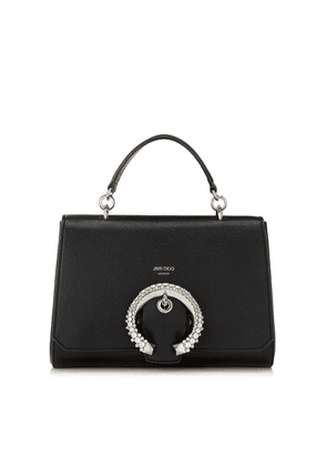 MADELINE TOP HANDLE Black Goat Calf Leather Top Handle Bag with Crystal Buckle