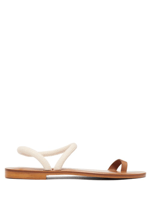 Álvaro - Angela Rope Strap Leather Sandals - Womens - Tan White