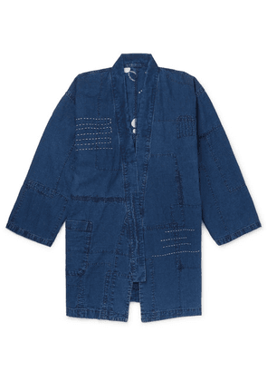 Blue Blue Japan - Patchwork Embroidered Linen Jacket - Indigo