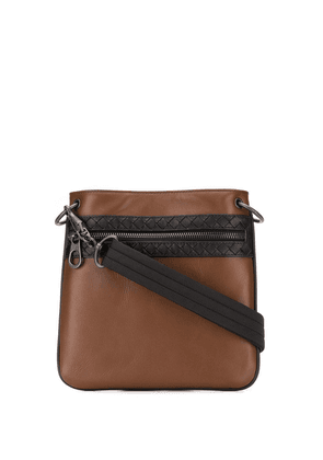 Bottega Veneta embroidered messenger bag - Brown