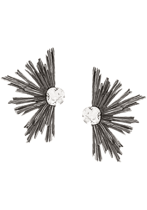 Saint Laurent metal crystal earrings - Silver
