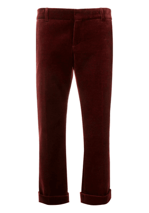 Saint Laurent velour cropped trousers - Red