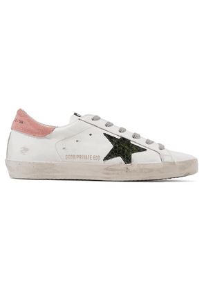 Golden Goose - Superstar Distressed Suede And Leather Sneakers - White