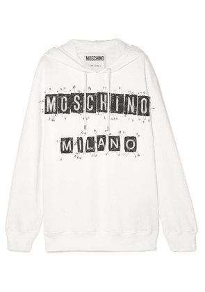 Moschino - Embellished Cotton-jersey Hoodie - White