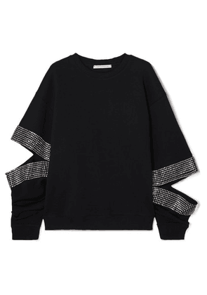 Christopher Kane - Crystal-embellished Cutout Cotton-jersey Sweatshirt - Black